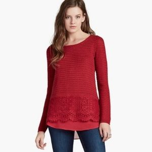 Lucky Brand Red Knit Crewneck Sweater